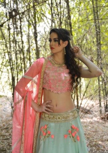 Light Pink and Grey Floral Lehenga with Embroidery