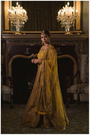 Photo of Mustard yellow and gold floor length anarkali