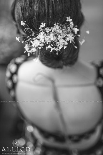 Bridal bun with babys breath