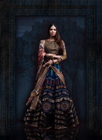 Dark Blue and Gold Lehenga with Embroidery and Sequins