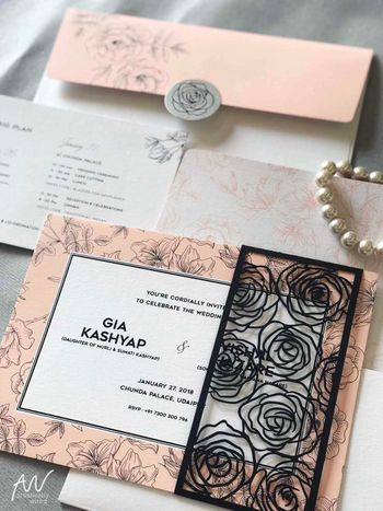 Photo of Unique wedding card with rose cutout