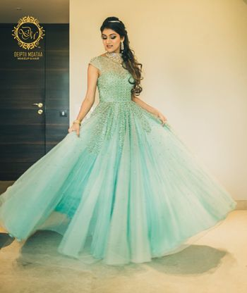 Seafoam Evening Gown with Gold Stone Work
