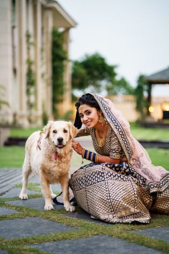 Wedding day bridal portrait with dog