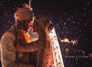 night wedding romantic couple portrait