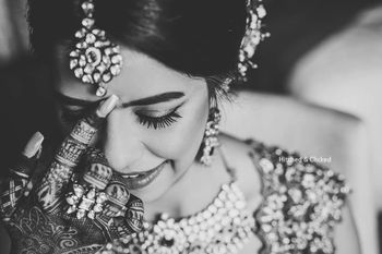 Photo of bridal close up shot in black and white