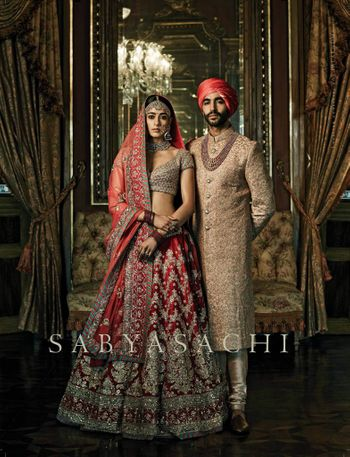 Sabyasachi deep red bridal lehenga