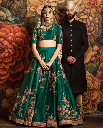 Sabyasachi Bottle Green Floral Lehenga