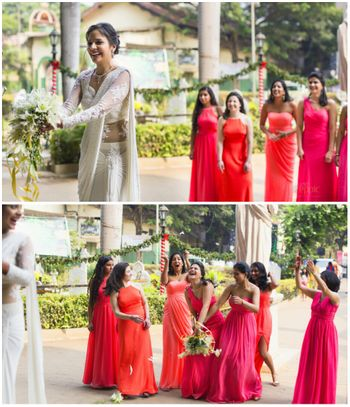 Bridal Bouquet Toss and Coordinated Bridesmaids in Pink