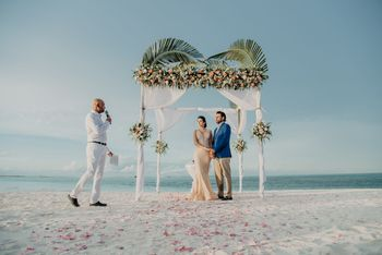 Photo of small intimate beach wedding decor idea