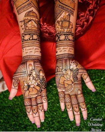 A beautiful full hand mehndi design
