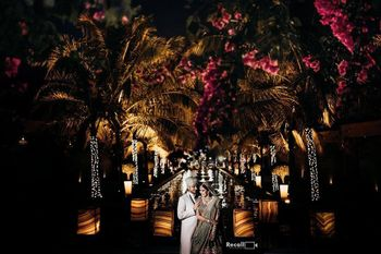 Photo of couple portrait for their night wedding