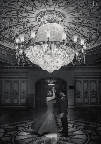 Black and White Couple Dance Portrait under Chandelier