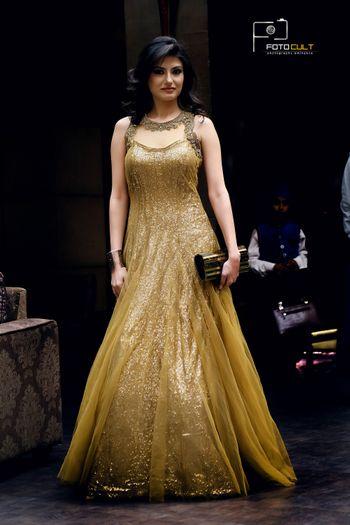 Gold Glitter Floor Length Gown