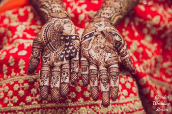 Half and half bride and groom portrait mehendi