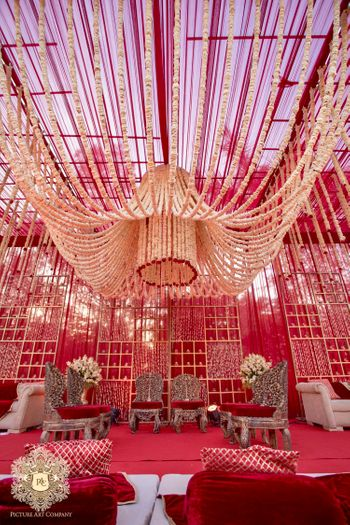 Mandap with floral chandelier
