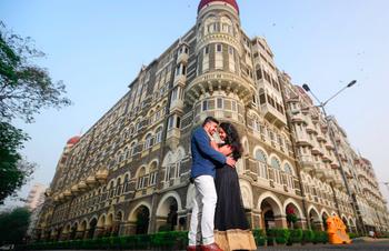Lovely couple having their pre wedding shoot at Taj Hotel, Mumbai.