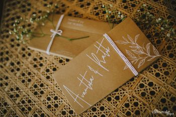 Simple wedding card with couple names