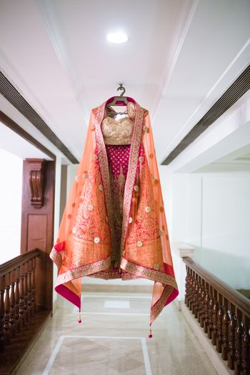 Bright pink and orange lehenga