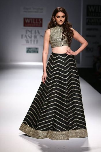 Payal Singhal black lehenga with crop top