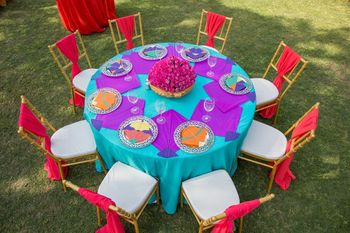 Colourful Quirky Kite Themed Round Table Setting