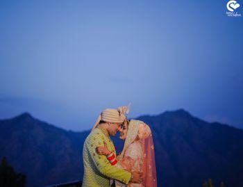 Happy couple sunset shot