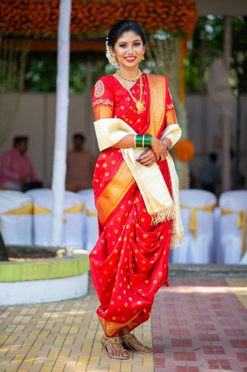A Maharashtrian bride in red saree