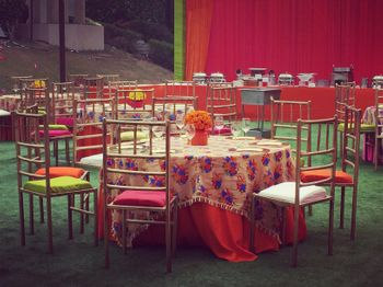 Photo of floral print table cloth