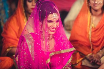 Sikh Bride with Bright Pink Veil