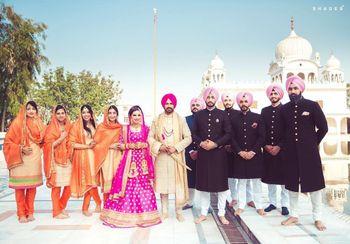 Sikh Wedding Coordinated Bridesmaids and Groomsmen