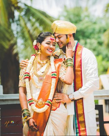 Candid shot of a South Indian couple.