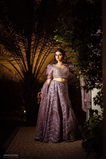 Modern lilac lehenga for engagement