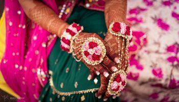 mehendi jewellery light and dark pink floral haathphool