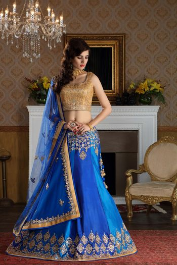 Photo of Royal Blue and Light Lehenga with Gold Sequin Blouse
