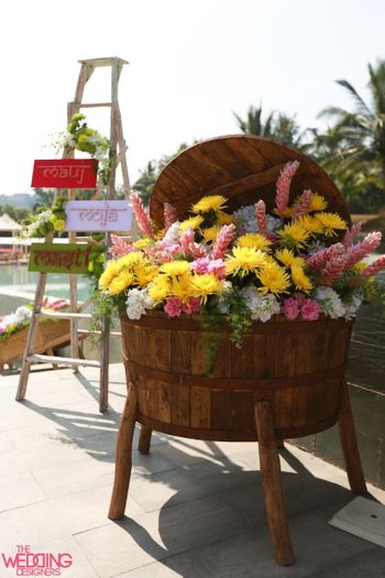 Photo of floral wooden basket display
