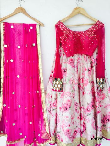 floral print  wtaercolor effect lehenga with full sleeves and sequin round big