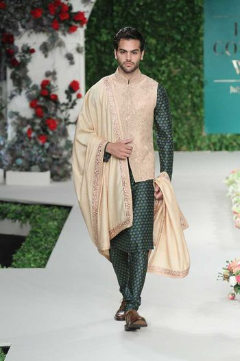 Kurta with nehru jacket in teal