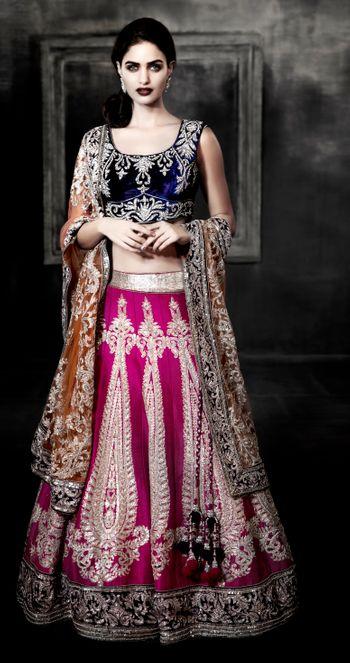 pink and navy bridal lehenga