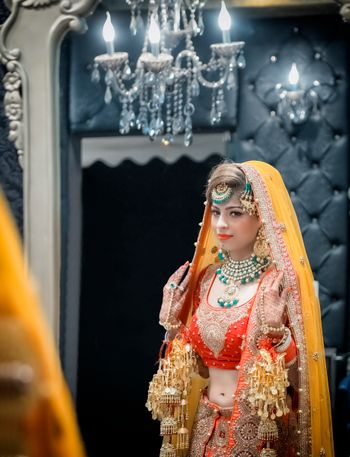 red yellow and orange bridal outfit