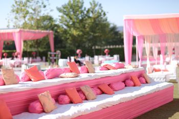 Pink and white theme seating decor