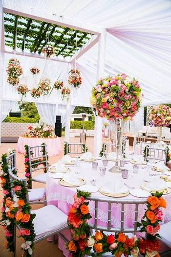 Photo of elegant pastel decor