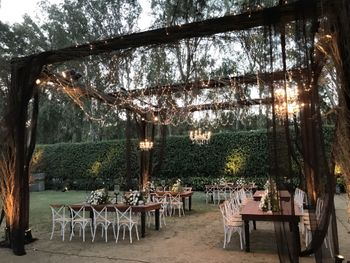 Beautiful dinner setup in a garden themed outdoor venue
