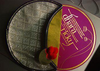 Circular Wedding Invitation Cards inside Cloth Pouch