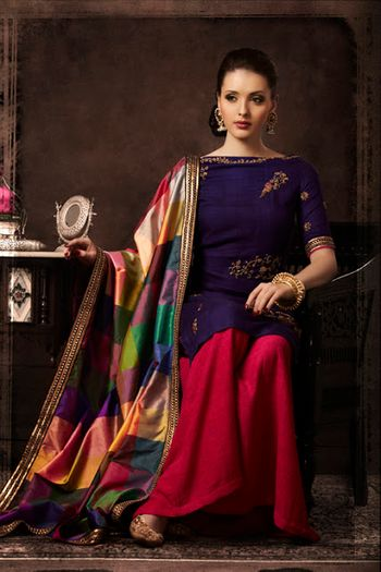 Photo of navy blue and pink sharara