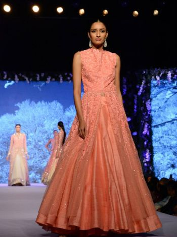 peach layered anarkali