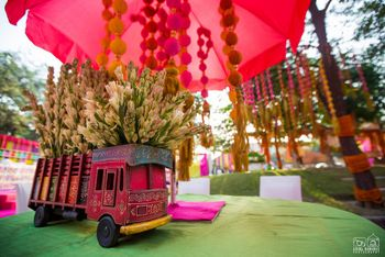 Photo of Decorated mini trucks table centerpieces