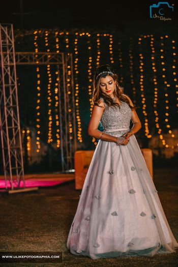 Photo of Light Grey Monotone A Line Gown with Studded Work