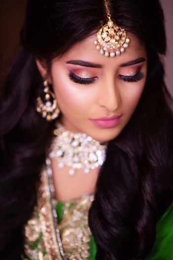 Bride with soft pink makeup on engagement