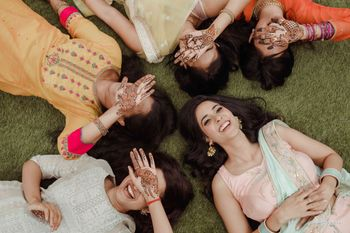 Photo of A bride is the happiest around her bridesmaids!