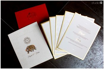 Simple Elephant Motif White Embossed Cards