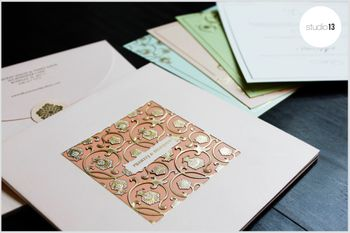 Peach and White Invites with Laser Cut Gold Design